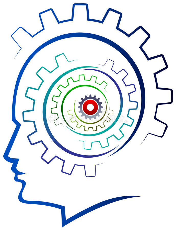 Gears Head. Gears in the head of a thinking isolated illustrated image royalty free illustration