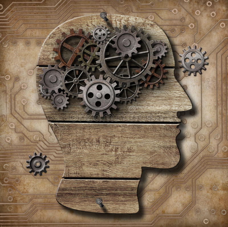 Gears in human brain metaphor vector illustration