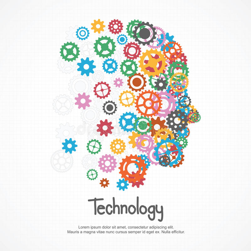 Gears human face for technology. Vector Illustration stock illustration