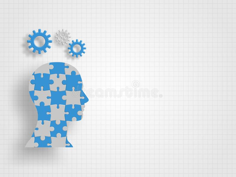 Gears on Human head model that filled with jigsaw on grid background represent design thinking and innovation concept. Technology background. Vector stock illustration