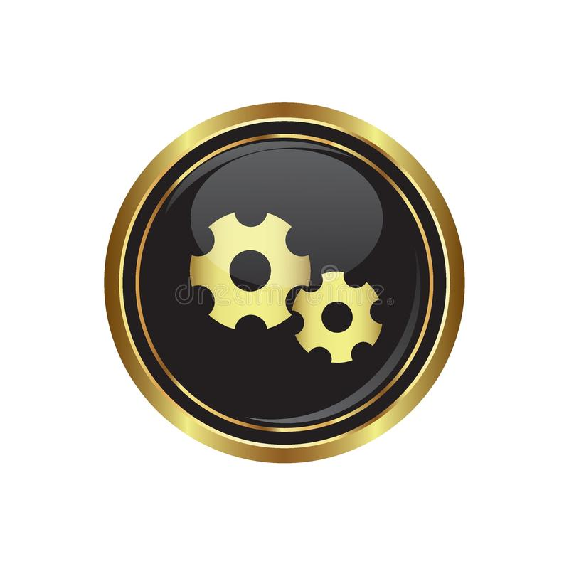 Gears icon on the black with gold round button stock illustration