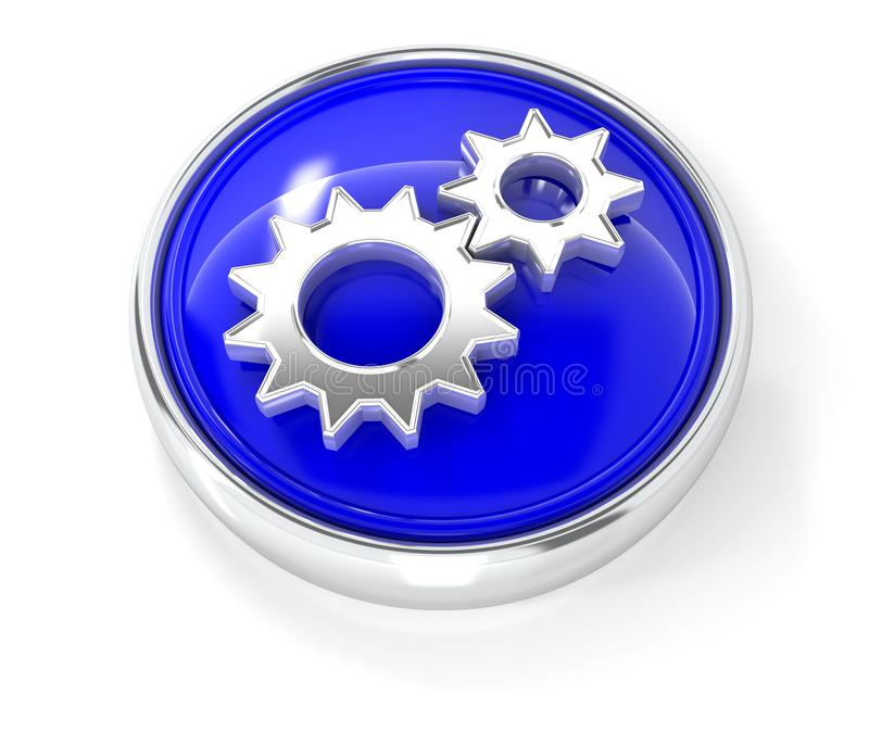 Gears icon on glossy blue round button stock illustration