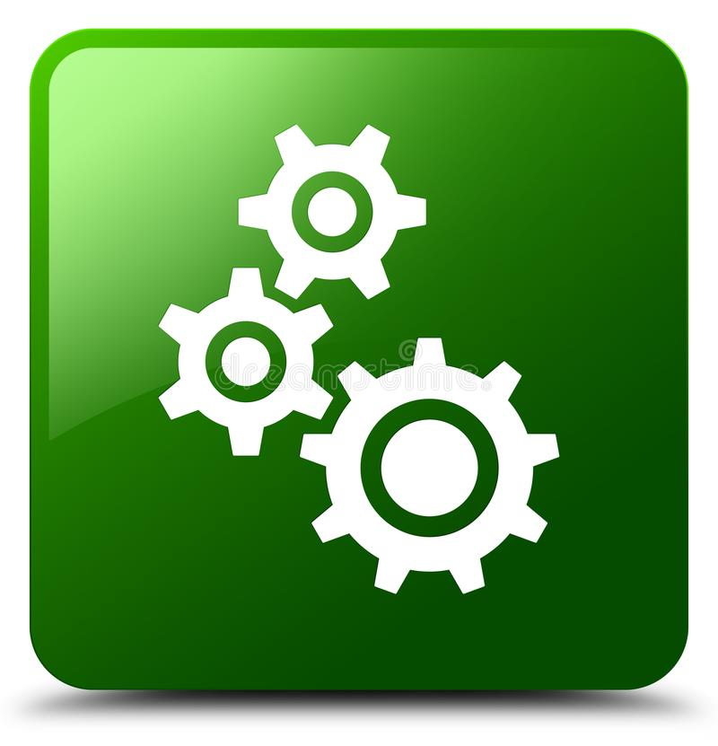 Gears icon green square button royalty free illustration