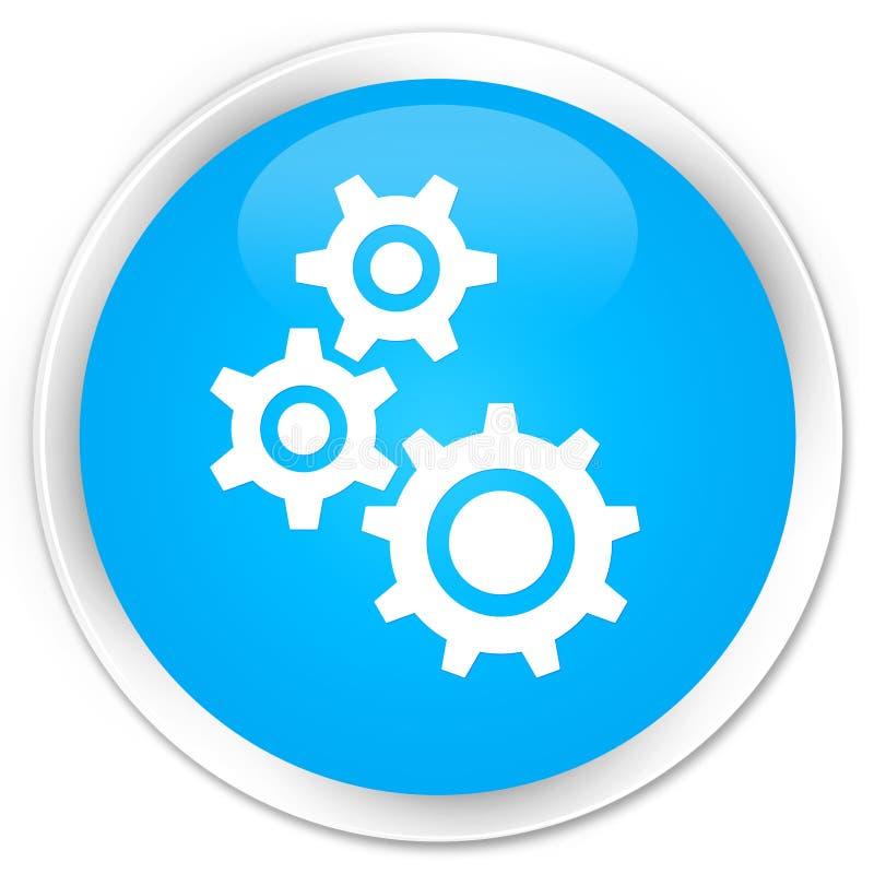 Gears icon premium cyan blue round button vector illustration