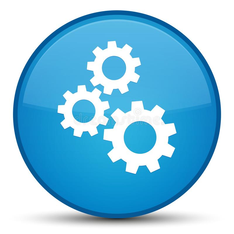 Gears icon special cyan blue round button stock illustration