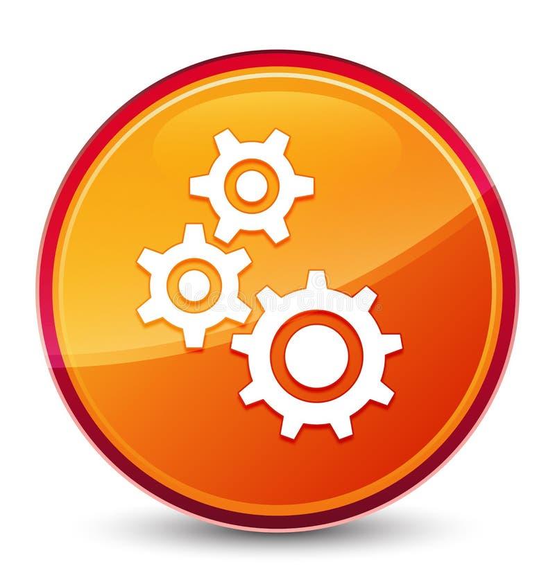 Gears icon special glassy orange round button stock illustration