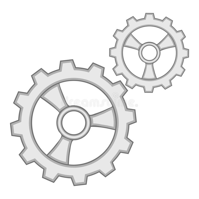 Gears icon monochrome. Gears icon in monochrome style isolated on white background vector illustration vector illustration