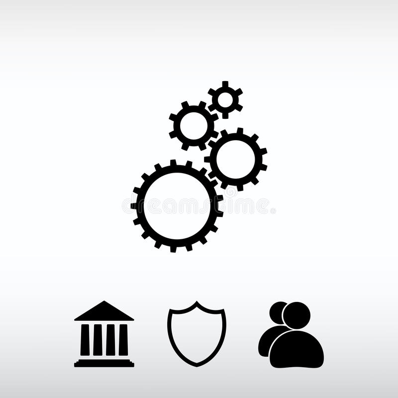 Gears icon, vector illustration. Flat design style royalty free stock images