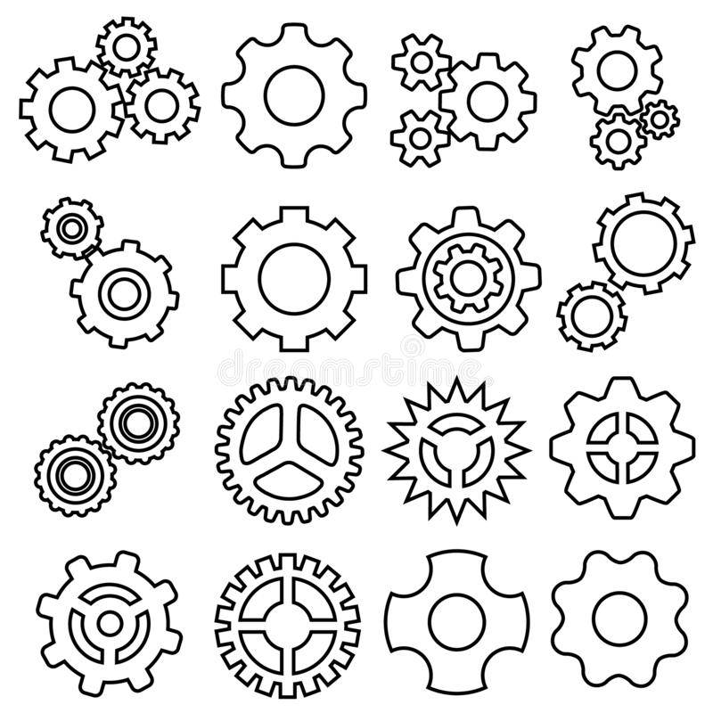 Gears icons vector set. Gear icon. Settings or options Illustration symbol. royalty free illustration