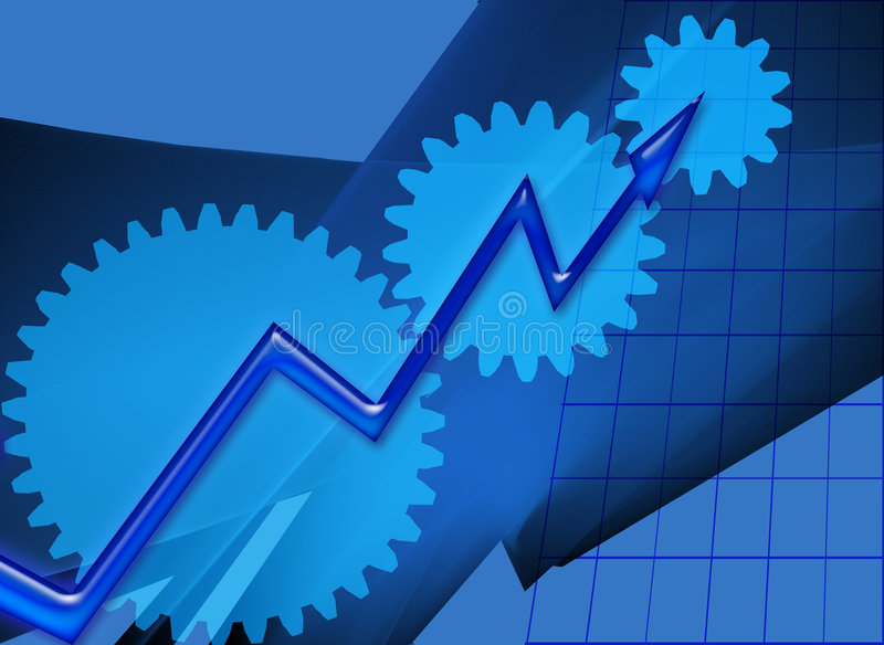Gears and increasing success. This design is about metaphors. The grid pattern, blue colors, gears and arrow are symbolic for business policy, creativity vector illustration