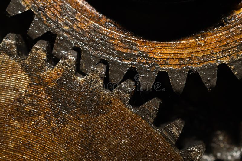 Gears of industrial machine. detail of mechanism. old cogwheels of machinery. Gears of industrial machine. detail of mechanism. old cogwheels. mechanical parts stock photography