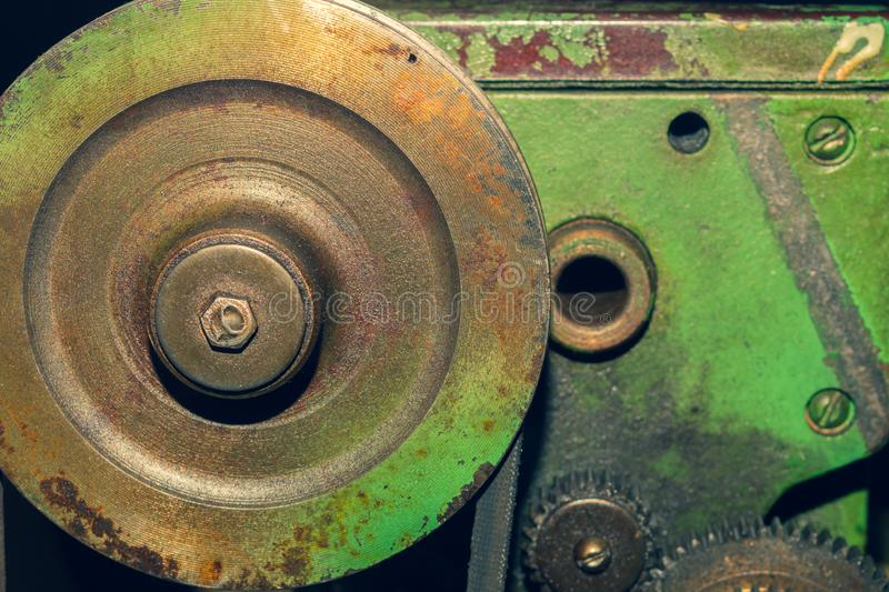 Gears of industrial machine. detail of mechanism. old cogwheels of machinery. Gears of industrial machine. detail of mechanism. old cogwheels. mechanical parts stock image