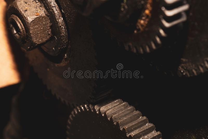 Gears of industrial machine. detail of mechanism. old cogwheels of machinery. Gears of industrial machine. detail of mechanism. old cogwheels. mechanical parts stock images