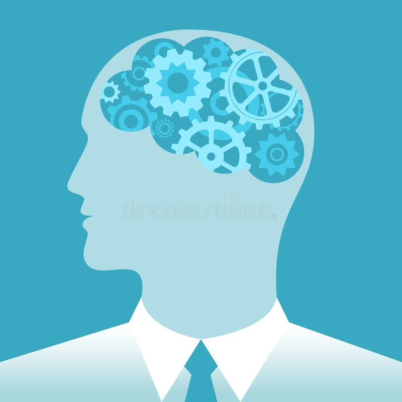 Gears in brain man. Business concept royalty free illustration