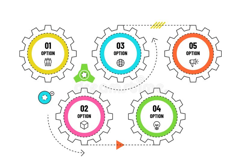 Gears infographic. Engineering timeline concept with 5 options. Workflow diagram, process flowchart vector infographics royalty free illustration