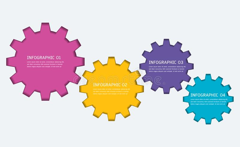 Gears infographic template for business presentation, Strategic plan to define company values. Gears infographic template for business presentation, Strategic royalty free illustration