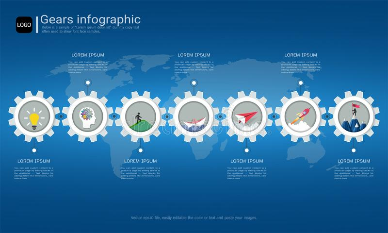 Gears infographic template for business presentation, Strategic plan to define company values. Gears infographic template for business presentation, Strategic vector illustration