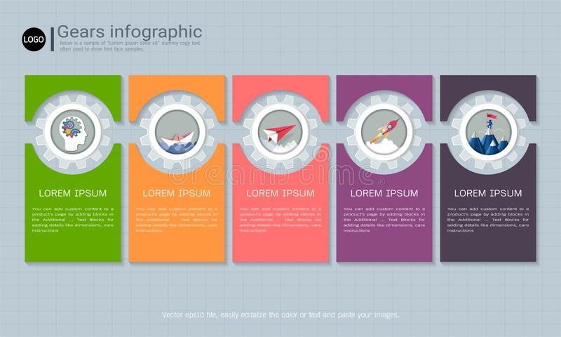 Gears infographic template for business presentation, Strategic plan to define company values. Gears infographic template for business presentation, Strategic stock illustration
