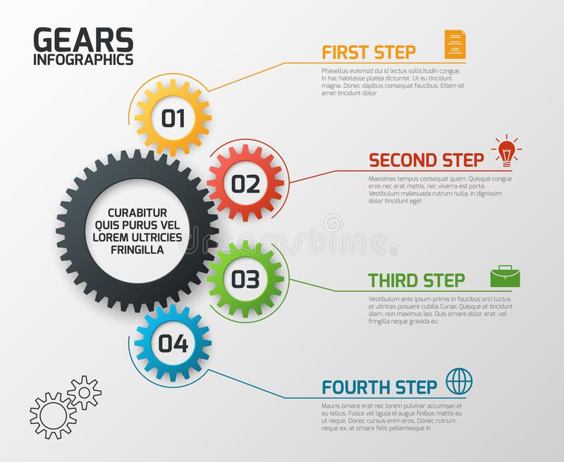Gears infographics. Cogs gearing process planning, timeline and engineering infochart with options vector presentation. Template. Chart process, infochart data stock illustration