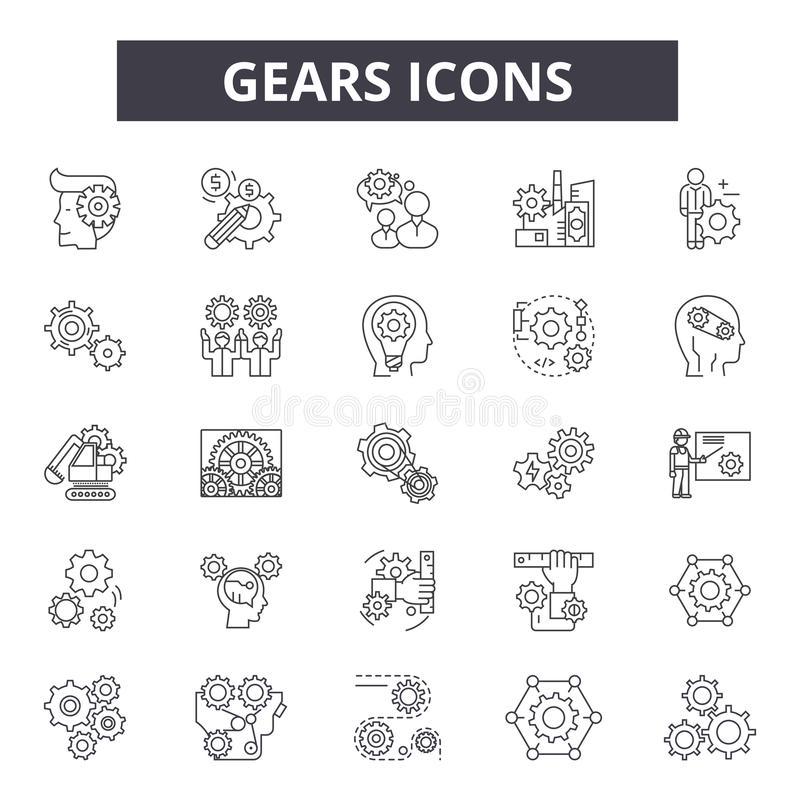 Gears line icons for web and mobile design. Editable stroke signs. Gears  outline concept illustrations stock illustration