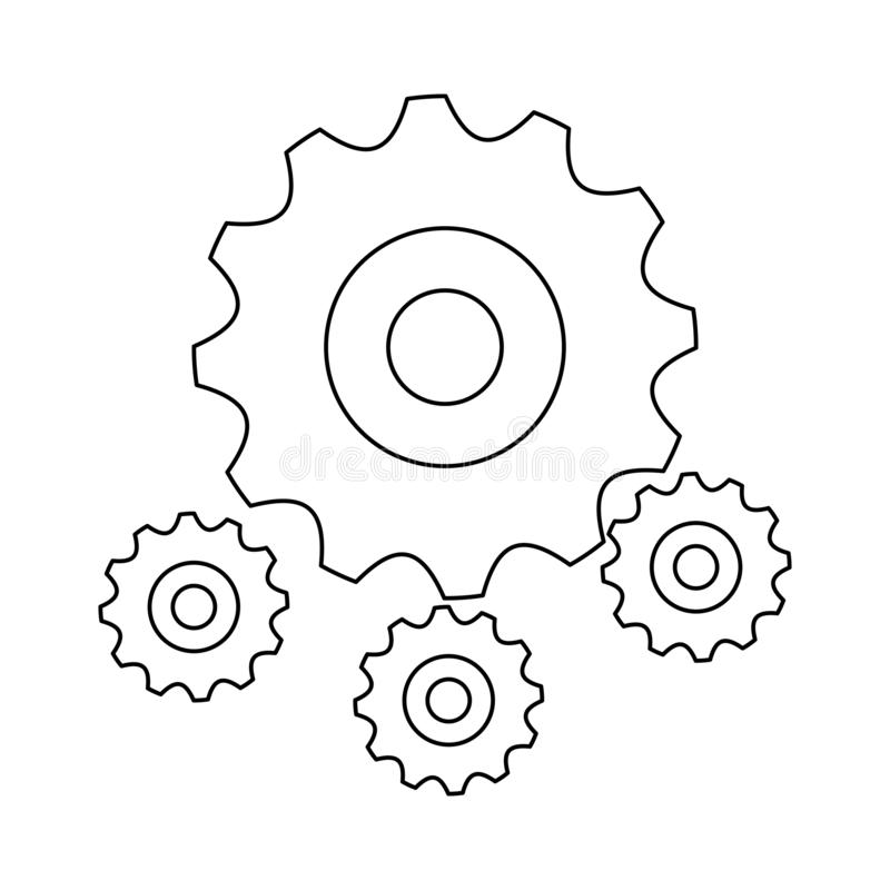 Gears machinery piece black and white. Gears machinery piece symbol vector illustration graphic design royalty free illustration
