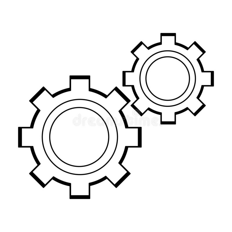 Gears machinery pieces in black and white. Gears machinery pieces vector illustration graphic design royalty free illustration
