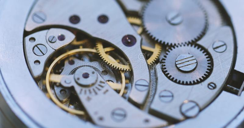 Gears And Mainspring In The Mechanism Of A Watch stock photography