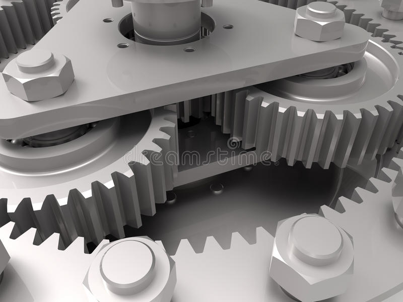 Gears - mechanical engineering concept. 3D render illustration of the mechanical engineering concept royalty free illustration