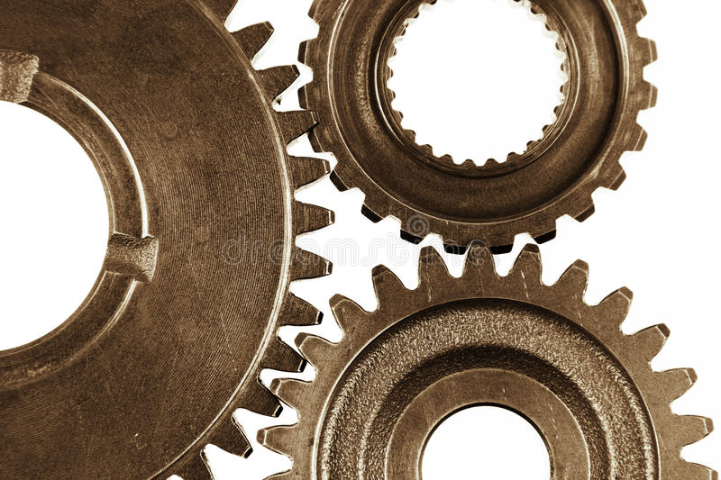 Gears. Metal gears on plain background royalty free stock photos