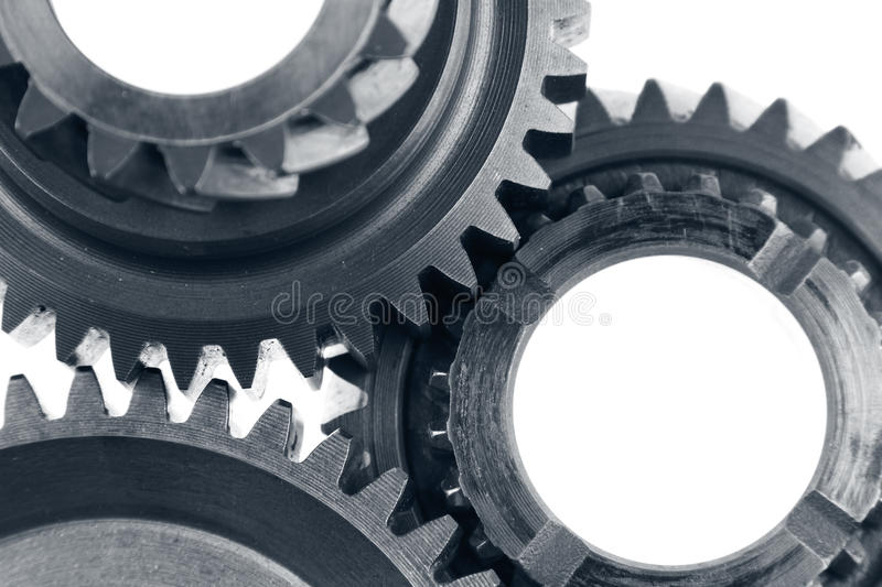 Gears. Metal gears on plain background stock photography