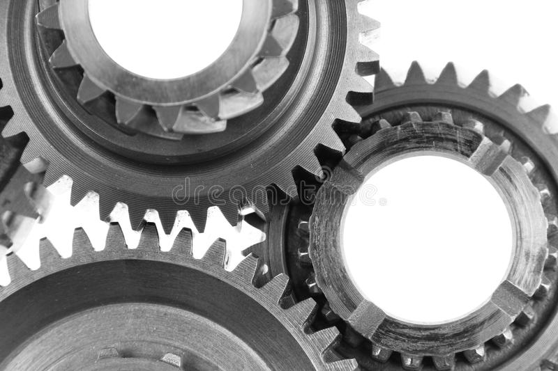 Gears. Metal gears on plain background royalty free stock images