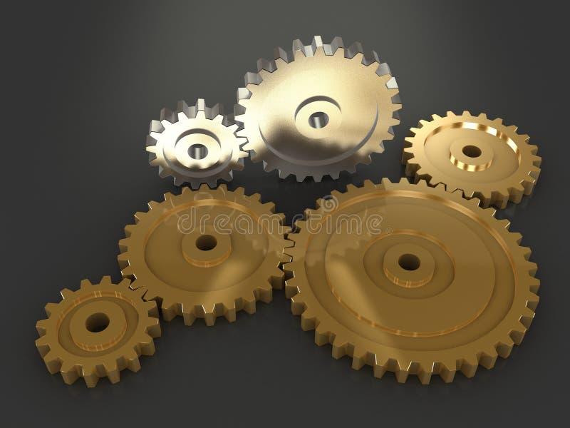 gears metalliskt stock illustrationer