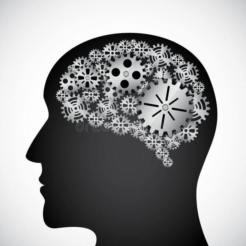 Gears in the mind royalty free illustration