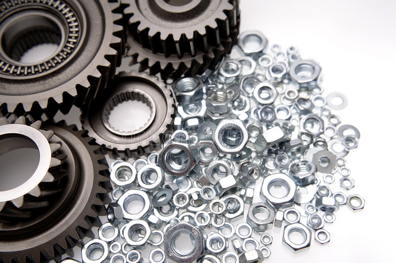 Gears & nuts stock image