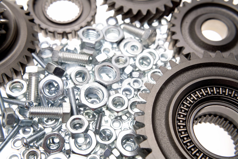 Gears, nuts and bolts royalty free stock photos