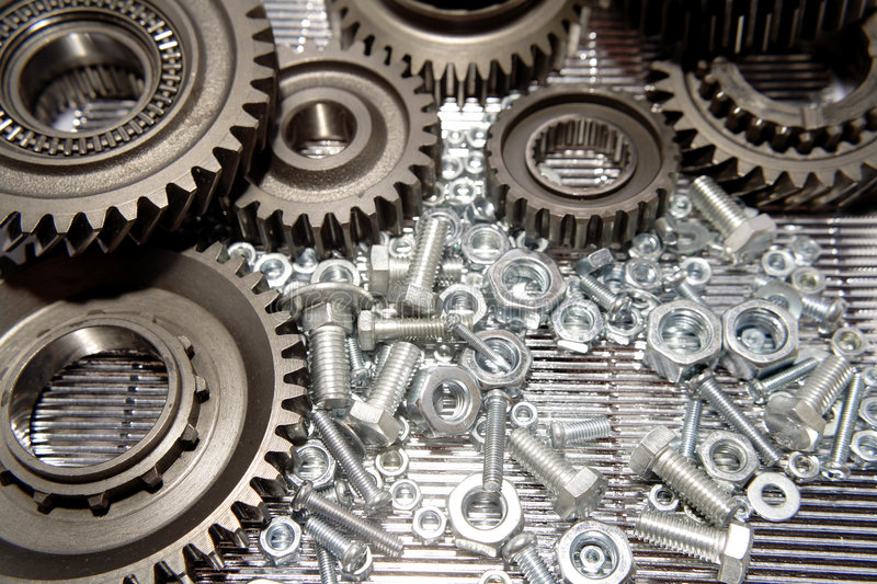 Gears, nuts and bolts royalty free stock images