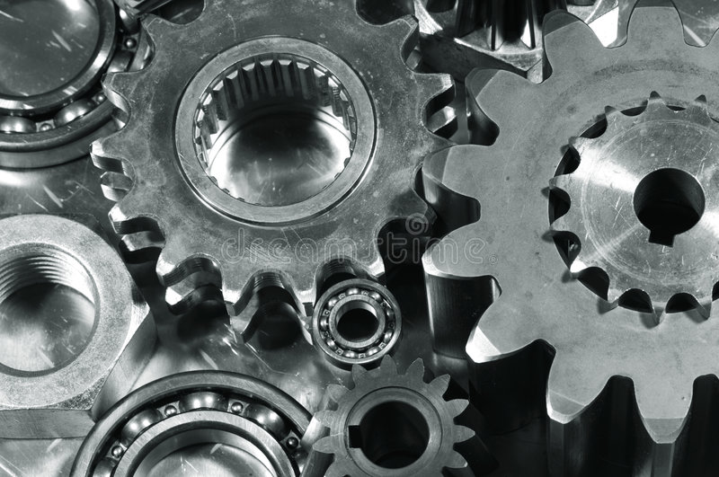 Gears and pinions in blue royalty free stock photos