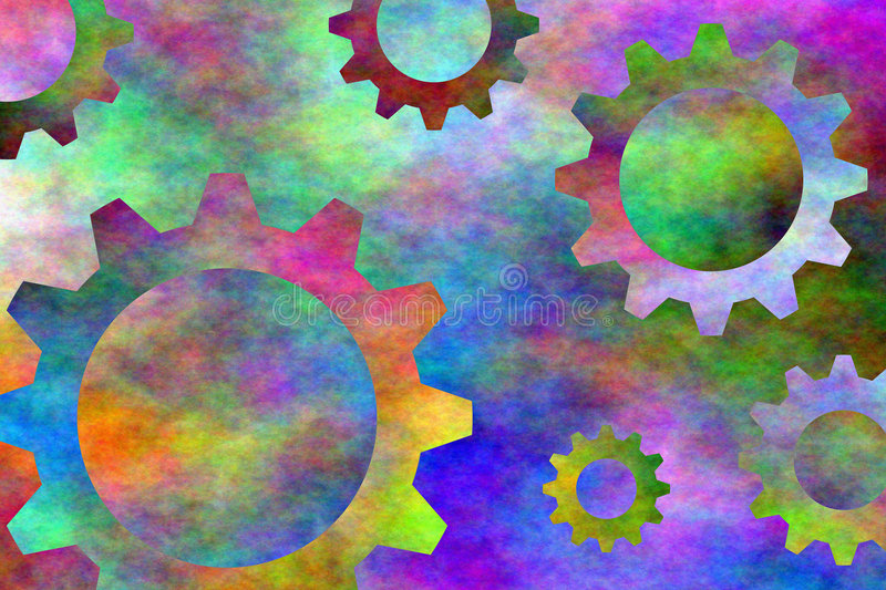gears psychedelic stock illustrationer