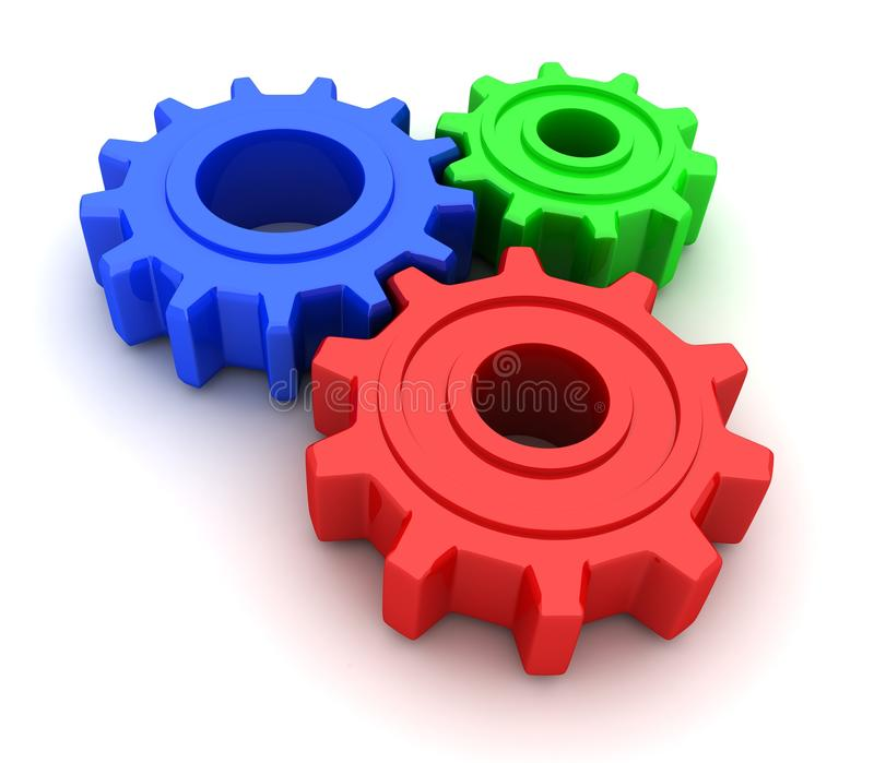 Gears RGB. (on white background, done in 3d stock illustration