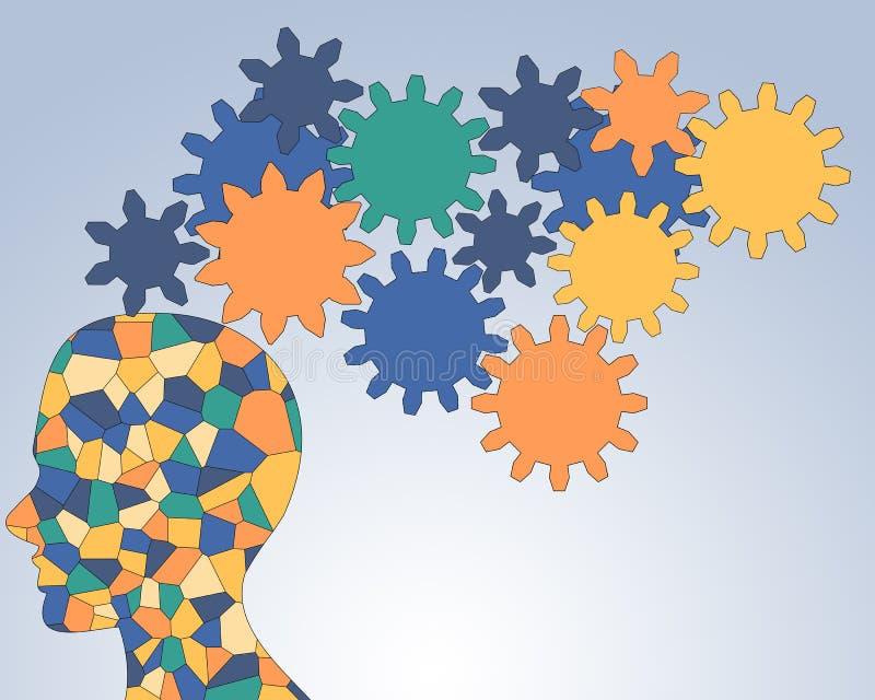 Gears rotate inside the brain , teamwork stock illustration