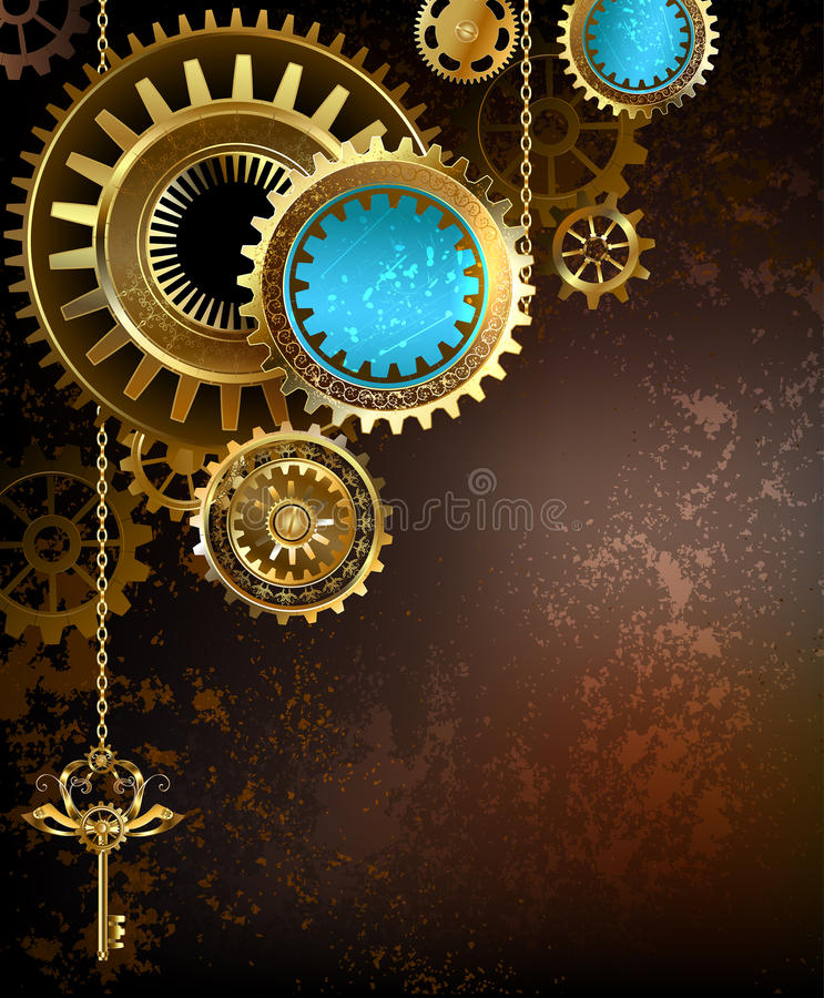 Gears on rusty background vector illustration