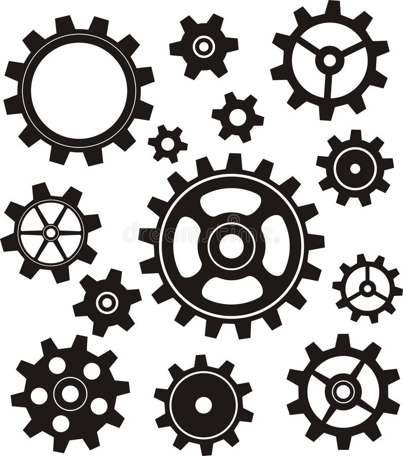 Gears Set. Collection of different cogs/ gears design elements against white background