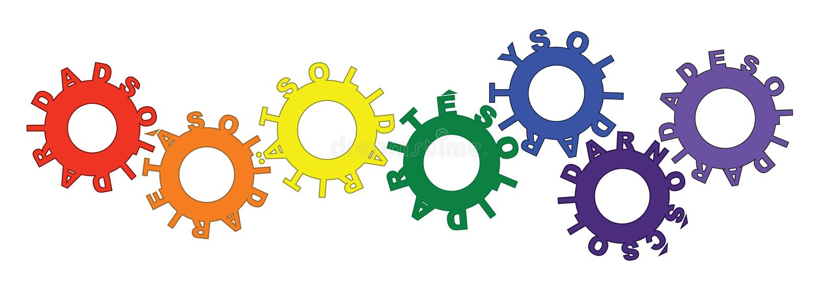 gears solidaritet stock illustrationer