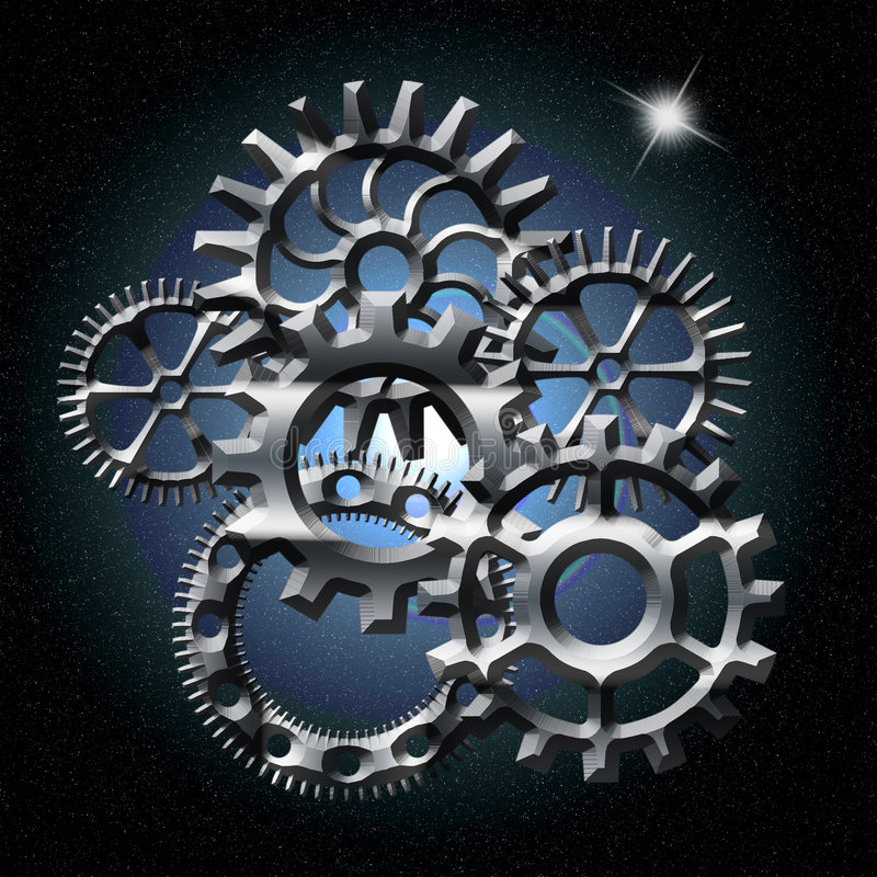 Gears in space with north star. Various silver gears in space with north star in upper right hand corner stock illustration