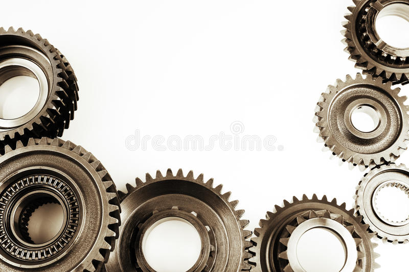 Gears. Steel cog gears on plain background. Copy space royalty free stock photos