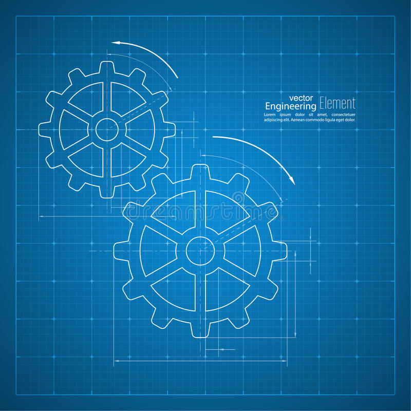 Gears symbol on the drawing paper stock vector illustration of paper blueprint background gears symbol on the drawing paper concept of motion and mechanics connection and operation engineering design work vector malvernweather Gallery