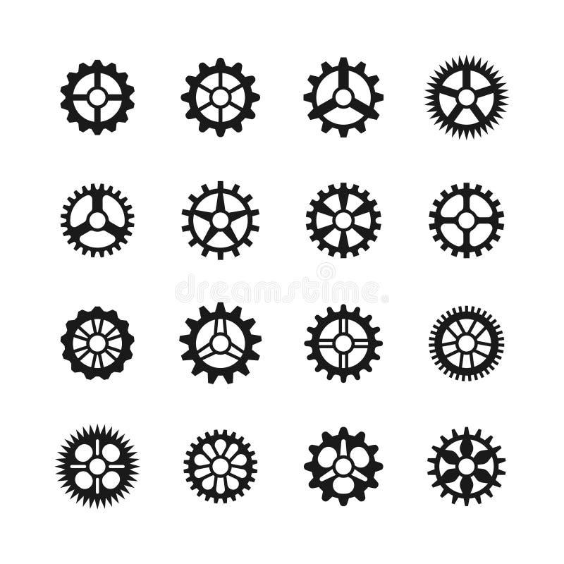 gears symboler Isolerade kugghjul för uppsättning och för överföring för vektorklockakugghjul stock illustrationer