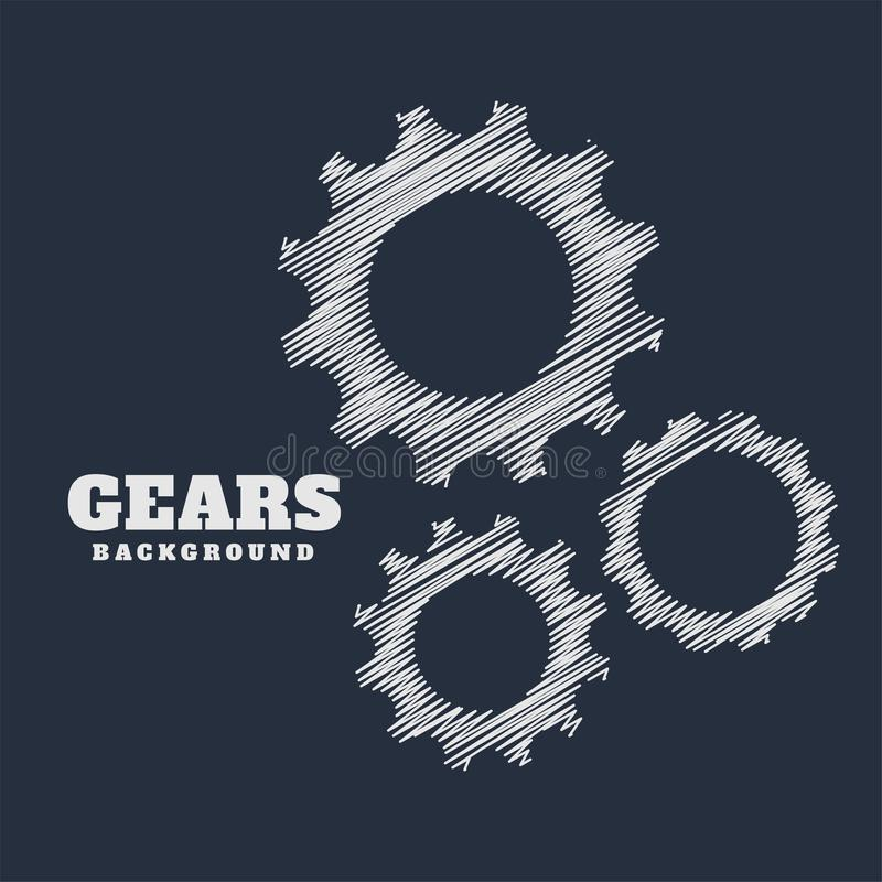 Gears symbols in scribble style background. Vector vector illustration