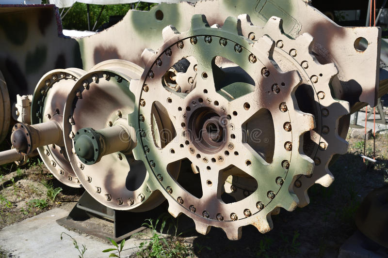 Gears of a tank. In Warsaw Military Museum. Picture date: 2017-06-03 royalty free stock images