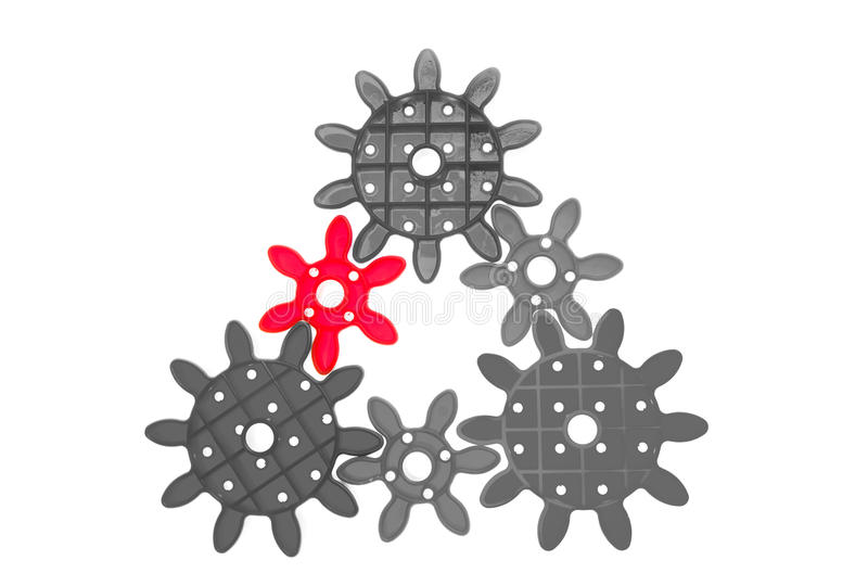 Gears Team Work. Cogwheels. Isolated on a white background stock photos